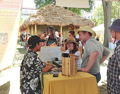 <p>The University of Hawaii presents its exhibits at the opening day of the Smithsonian Folklife Festival on June 27.</p>