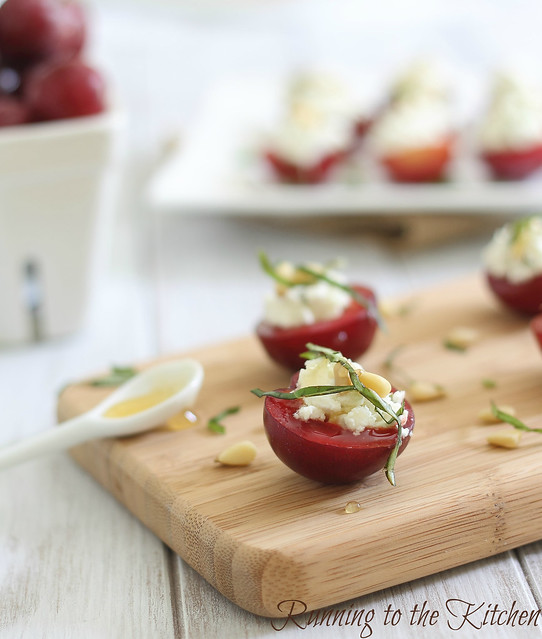 Goat cheese and honey stuffed plums