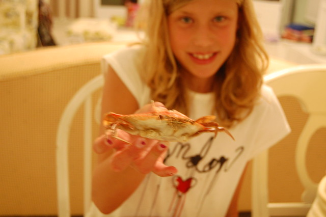 Emma tried crab--and liked it--unbelievable!! AL
