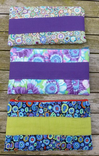 three gathered clutches from pattern by Noodlehead