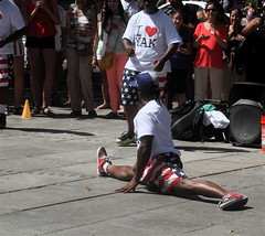 boston faneuil hall performer doing split