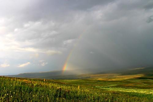 summer sun field rain rainbow armenia armaghan