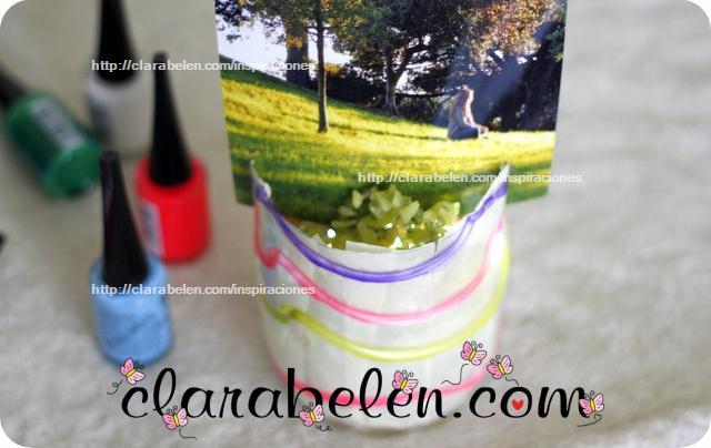 Lamparas portafotos con reciclaje de botellas para organizar