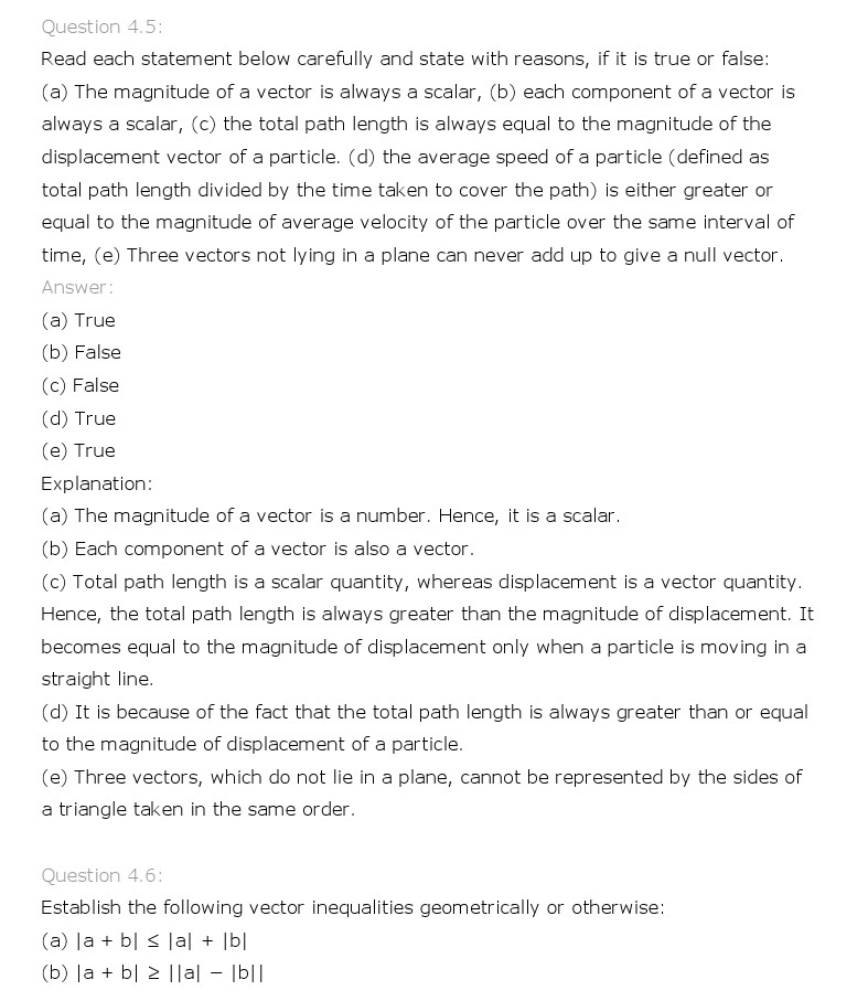 Ncert Solutions For Class 11 Physics Chapter 4 Motion In A Plane
