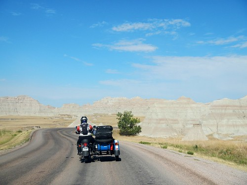 Twisty road through the Badlands