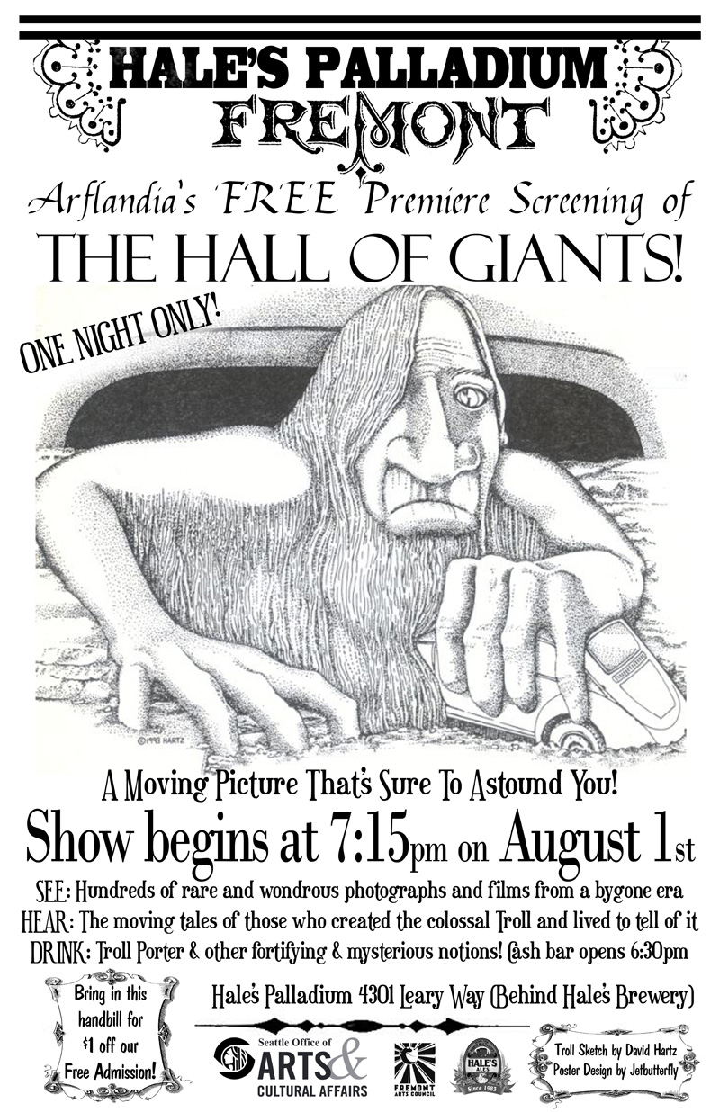 The Hall of Giants Film Debut on Fremont Troll | Free, All Ages