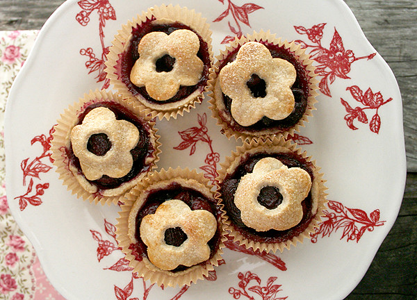 Mini, Sweet Cherry Cardamom Pies.