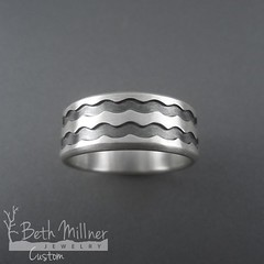 "Custom Double Recessed ""Mike Boyer Wave"" Ring"