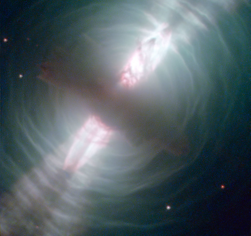 Hubble Images Searchlight Beams from a Preplanetary Nebula