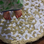 Feather Your nest entry, old bath towel rag rug