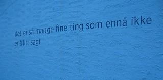 Outdoor poetry, Sortland, the Blue Town, Arctic Norway