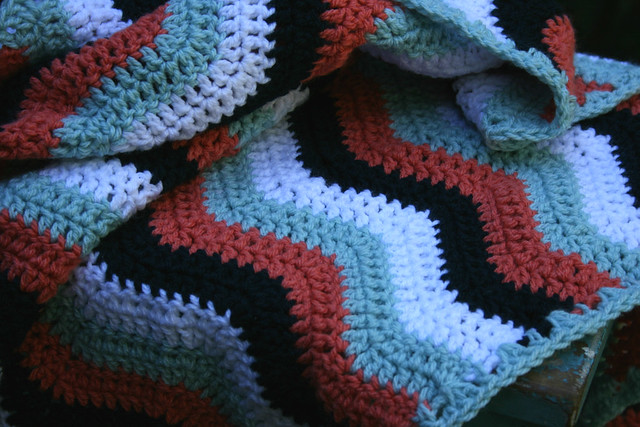 Peach ripple cot blanket