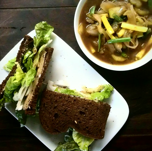 Farmer's market soup and Sammy