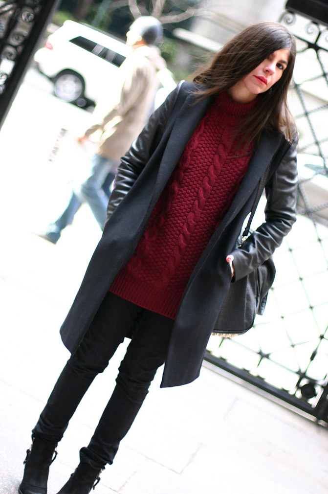 Zara leather sleeves coat, Topshop ambush, Alexander Wang Rocco duffel, Fashion, Outfit