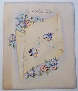Vintage Mother's Day Card-Bluebirds