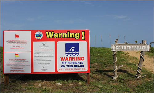 Warning sign at Karon Beach Phuket