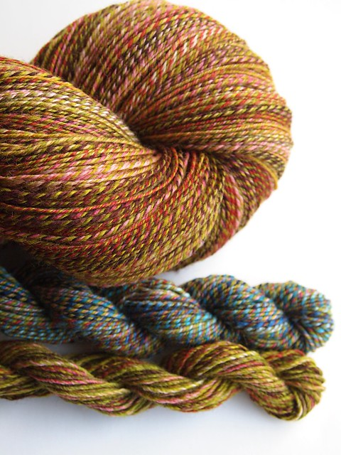 FCK-Old Rose & Leaf Eater, 3-ply, 654yds-Falkland-6 & left over skeins