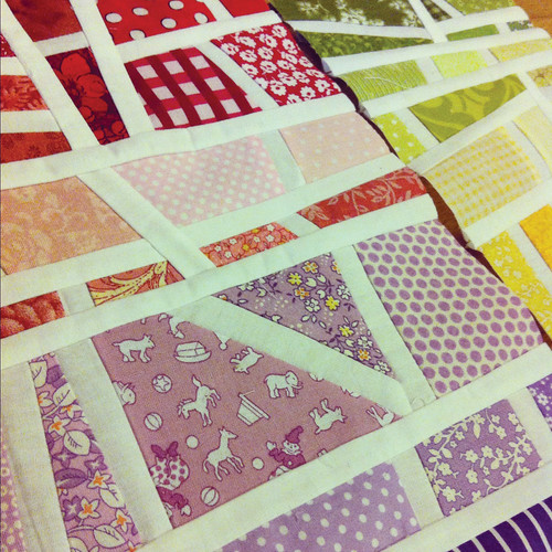 red-pink-purple and green-yellow-orange mod mosaic quilt blocks