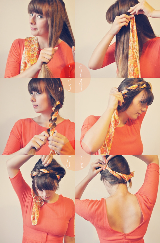 scarf braided crown
