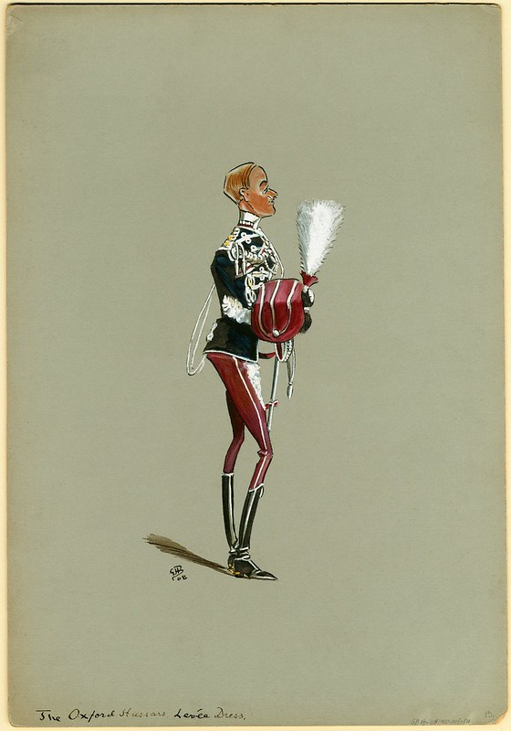 Yeomanry regimental soldier caricature in decorative uniform jacket carrying feathered hat