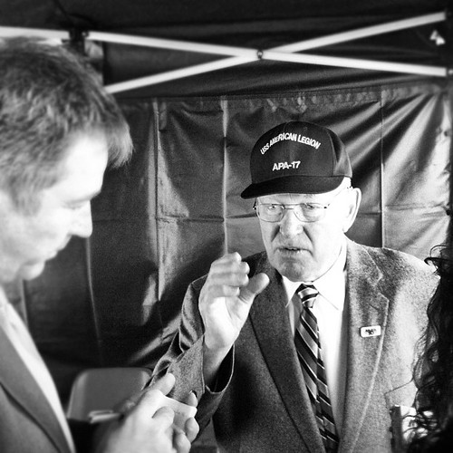Frank Zalot Jr. being interviewed by Adrian Pratt (left) at today's Kapiti US Marines Trust 70th Anniversary Memorial Day Service.