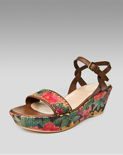 Stuart Weitzman Mid-Wedge Raffia Sandal NM Retail $298 on sale for $199