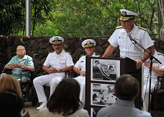 PEARL HARBOR (June 1, 2012) Rear Adm. Patrick Driscoll, deputy commander of U.S. Pacific Fleet, addresses the audience during a ceremony at U.S. Pacific Fleet headquarters to honor the success of Navy operational intelligence. (U.S. Navy photo by Mass Communication Specialist 2nd Class David Kolmel)