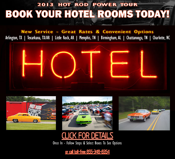 2013 Hot Rod Power Tour Hotels and Stops