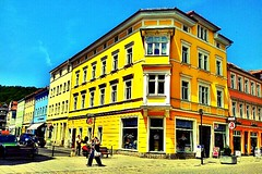 It's a #colorful #city here. They've also #yellow #buildings.