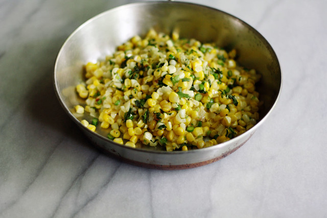 corn with scapes, chilies and cilantro
