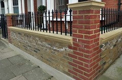 fence, wall, baluster, iron, walkway, brickwork,