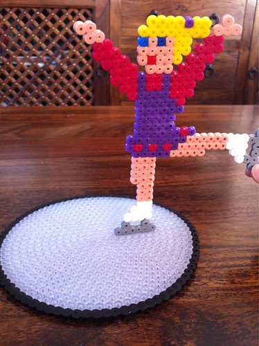 Hama Bead Ice Skater with Rink.