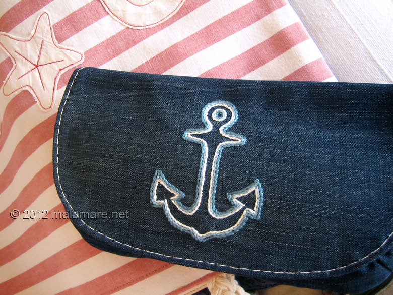 upcycled blue jeans clutch bag with hand embroidered anchor nautical