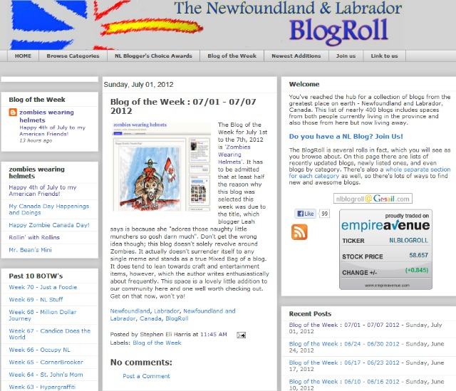 Newfoundland Labrador Blog Roll- Blog of the Week - 07-01 - 07-07 2012