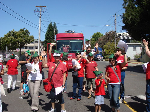 Group waving at Alameda parade