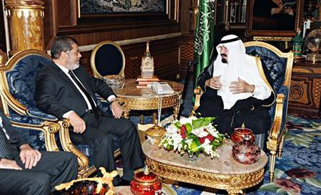 Egyptian President Mohamed Mursi meeting with Saudi King Abdullah in Jeddah on July 11, 2012. Many have speculated over the significance of the visit. by Pan-African News Wire File Photos