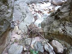 Suite du vieux sentier de la brèche du Carciara : restes de câble métallique descendant au ruisseau