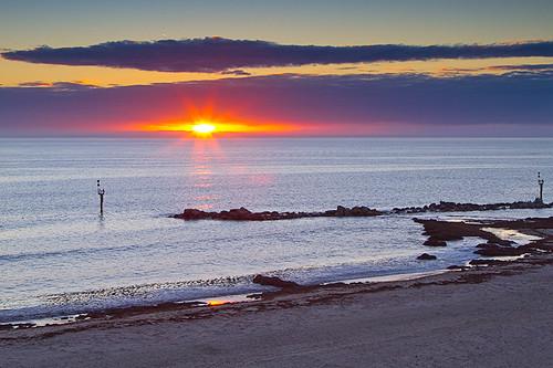 sunset sea beach clouds seaside