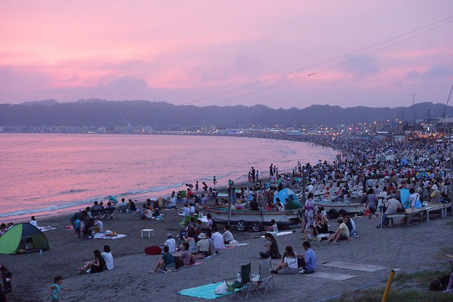 sunset at the beach, Kamakura fireworks