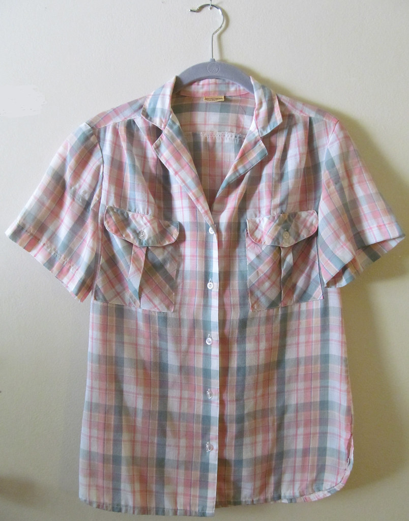 Pastel Plaid Camp Shirt Front