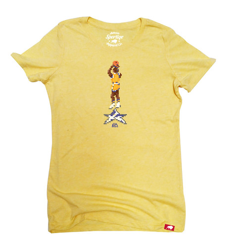 Ladies EA SPORTS Yellow 16 Bit Basketball T-Shirt By Sportiqe