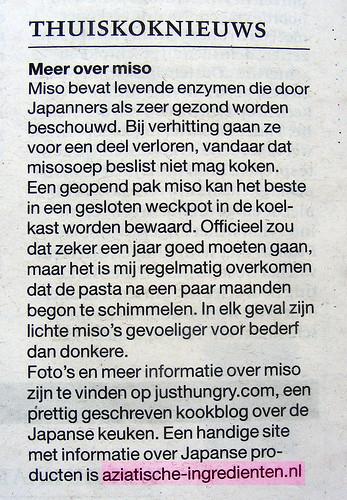 Vermelding Aziatische-ingredienten.nl in 't NRC door Janneke Vreugdenhil