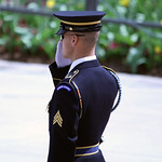 Tomb of the Unknown Soldier - guard salutes - Arlington National Cemetery - 2012