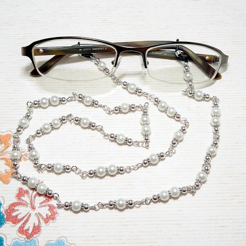 White Pearl and Silver Beaded Eyeglass Chain - Blank Space