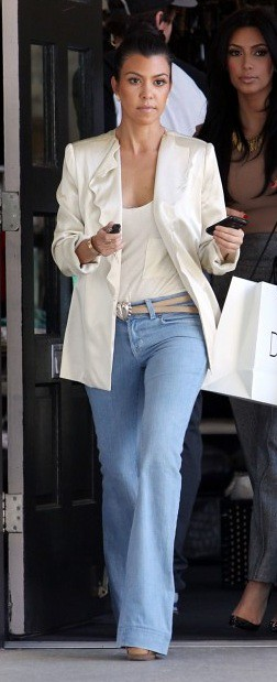 Kourtney Kardashian White Blazer Celebrity Style Fashion