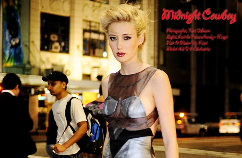 Midnight Cowboy, Night Editorial Sydney, Crossing at Night, Fashion Photography