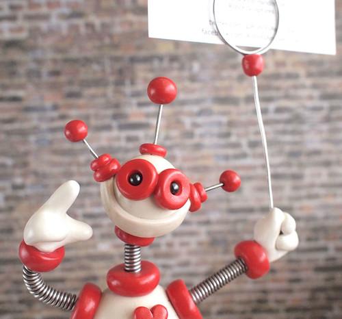 Wil the Robot Sign Photo Holder Sculpture by HerArtSheLoves