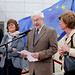 MEP and EP Vice-President Isabelle Durant, Ixelles Mayor Willy Decourty, Director-General (Communications) Juana Lahousse get the ball rolling