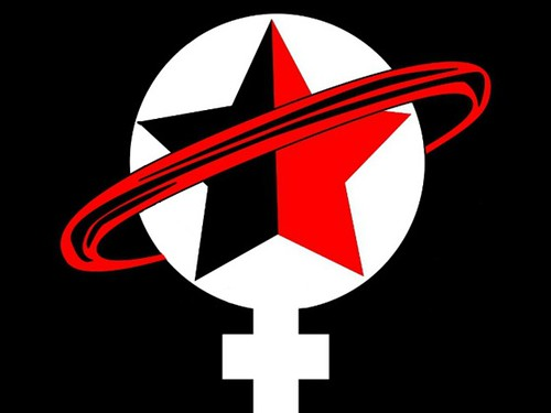 feminist sci fi logo, a woman symbol with a star and orbiting ring in red and black