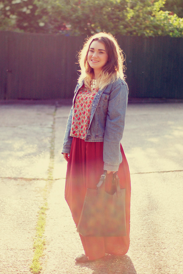 Wardrobeblock : Primark floral top burgundy maxi skirt green loafers black plaited leather tote zara dupe